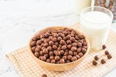 Chocolate cereal bowl. For breakfast royalty free stock photography
