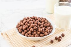 Chocolate cereal bowl. For breakfast stock image