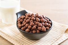 Chocolate cereal bowl. For breakfast royalty free stock image