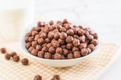 Chocolate cereal bowl. For breakfast royalty free stock photos