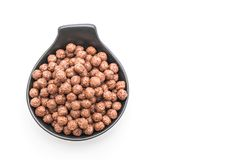 Chocolate cereal bowl. Isolated on white background stock images