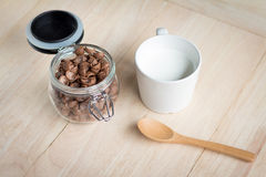 Chocolate cereal cornflakes and milk for breafast Stock Image