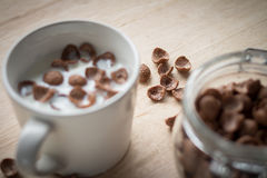 Chocolate cereal cornflakes and milk for breafast. Milk and chocolate cereal cornflakes in white cup that ready for serving in breakfast time Royalty Free Stock Image
