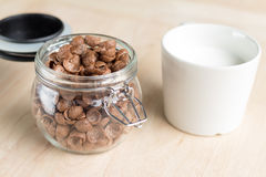 Chocolate cereal cornflakes and milk for breafast Royalty Free Stock Photos