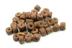 Chocolate cereal isolated. On a white background stock images