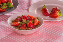 Chocolate cereal with milk and strawberries Royalty Free Stock Photo