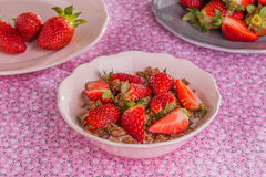 Chocolate cereal with milk and strawberries Stock Photography