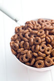 Chocolate cereal rings Royalty Free Stock Photography
