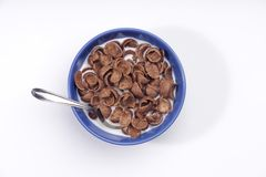 Chocolate cereals. Chocolate cereal in bowl whth milk stock photography