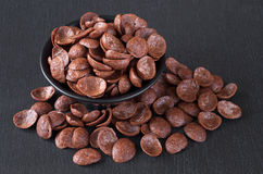 Chocolate cereals in bowl Stock Photo