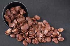 Chocolate cereals in bowl Royalty Free Stock Images