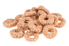 Chocolate cereals ring. Heap cereals ring isolated on white Stock Photography