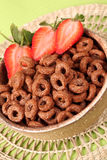 Chocolate cereals with strawberries Stock Photos