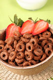 Chocolate cereals with strawberries Royalty Free Stock Photography