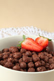 Chocolate cereals with strawberries Stock Photo