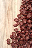 Chocolate cereals on wooden table Royalty Free Stock Image