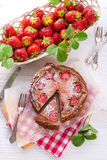 Chocolate cheese cake with Strawberry Stock Photos