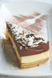 Chocolate cheese-cake on a white plate. Chocolate cheesecake on a white plate, and a fork pattern royalty free stock photography