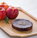 Chocolate cheese pie cake with fresh apple Royalty Free Stock Image