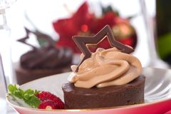 Chocolate cheesecake stock images