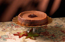 Chocolate Cheesecake. On fall themed background with leaves Royalty Free Stock Images