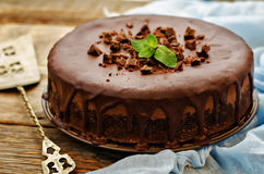 Chocolate cheesecake with chocolate glaze Royalty Free Stock Photo