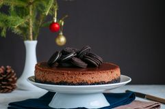 Chocolate cheesecake with cookies royalty free stock photo