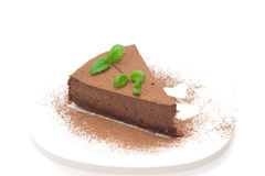 Chocolate cheesecake decorated with mint sprig Royalty Free Stock Image