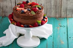 Chocolate cheesecake and devil food cake Stock Photo