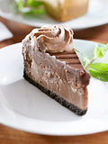 Chocolate cheesecake with mint garnish. Royalty Free Stock Photos