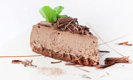 Chocolate cheesecake with mint Royalty Free Stock Images