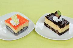 Chocolate Cheesecake and Orange Biscuit ca Royalty Free Stock Image