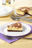 Chocolate cheesecake on a plate Royalty Free Stock Photography