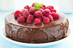 Chocolate cheesecake with raspberries Stock Photos