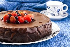 Chocolate Cheesecake. With three kinds of chocolate Royalty Free Stock Photography