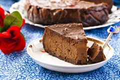 Chocolate Cheesecake. With three kinds of chocolate Royalty Free Stock Photo