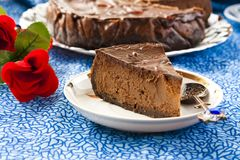 Chocolate Cheesecake. With three kinds of chocolate Stock Photos