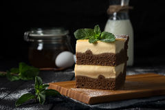 Chocolate cheesecake with vanilla filling Royalty Free Stock Image