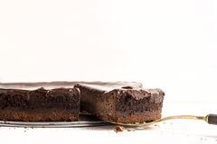 Chocolate cheesecake. On the white background Stock Image