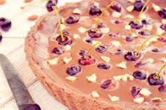 Chocolate and cherries Royalty Free Stock Images