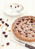 Chocolate and cherries tart Stock Photography