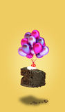 chocolate cherry cake with balloons on yellow background. Chocolate pie. Flying brownie with cream Royalty Free Stock Photo