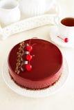 Chocolate cherry cake covered Stock Photos