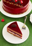 Chocolate cherry cake covered Stock Images