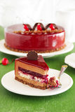 Chocolate cherry cake covered. With a mirror coating stock photo