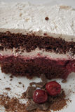 Chocolate and cherry cake. Delicious slice of chocolate and cherry cake Stock Image