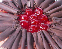 Chocolate and cherry cake detail Royalty Free Stock Images