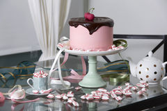 Chocolate Cherry Cake Surrounded by Peppermints. Pink Cherry Cake Topped with Chocolate Ganache on Cake Stand Surrounded by Peppermint Candies on Glass Table Stock Photography