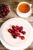Chocolate-cherry cheesecake Stock Photo