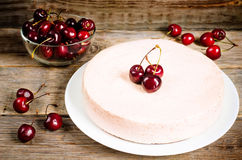 Chocolate-cherry cheesecake Stock Image